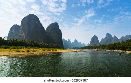 Scenery on RMB 20 Yuan Banknote of China. Beautiful mountain landscape along Li river, Guilin, China.