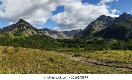Scenery panoramic mountain landscape of Kamchatka Peninsula: early autumn view of Mountain Range Vachkazhets with forest slopes of hills and clouds in blue sky on sunny day. Eurasia, Russian Far East