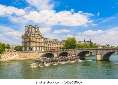 scenery of paris by Seine river in france