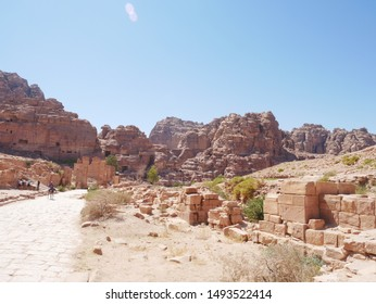 Scenery of Petra ruins in Jordan