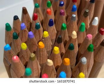 Scenery portrait of the color pencil in the box
