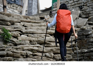 Scenery portrait of the people adventure trekking with stairway background on the route to Annapurna base camp at Pokhara, Nepal