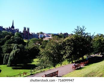 Scenery Princess street garden on sunny day at Edinburgh Scotland, taken on 17th August 2017