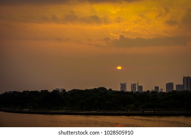 Scenery at Putrajaya during cloudy sunset.