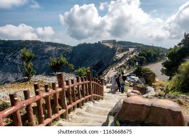 Scenery of road and people activity in Tangkuban Perahu tourist attraction, this is one of famous travel destination in Indonesia, especialy west java