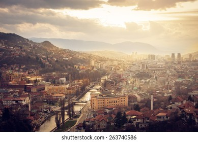 Scenery of Sarajevo city from above