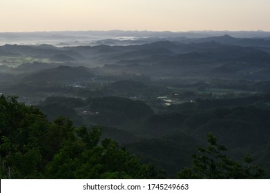 Scenery of the sea of clouds seen from Kujukutani Observatory Park in Mt. Kanou, Kimitsu City, Chiba Prefecture, Japan. May 30, 2020.