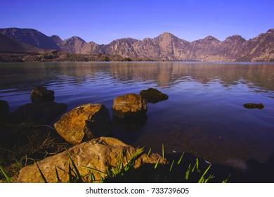 scenery of Segara Anak Lake in Mount Rinjani, Indonesia.