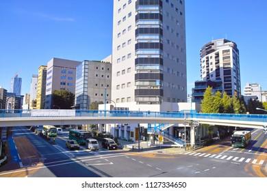 Scenery of Shibuya bridge intersection of Ebisu