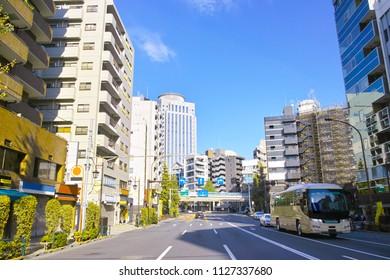 Scenery of Shibuya bridge intersection in front of Ebisu station