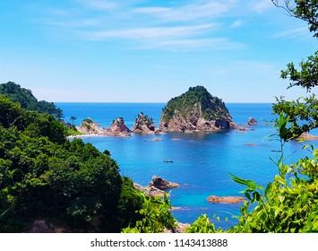 Scenery of Shirawara Coastline, that famous sightseeing coastline that have many little stone islands built from volcanoes in Iwami City, Tottori Province, Japan, viewing from the Observation Point.