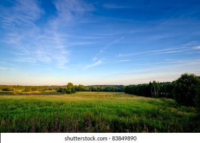 a scenery shot of a swedish rural field in the summer