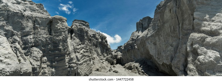 Scenery of Snow Mountain of U Thong Stone Mill Suphanburi, Thailand. Limestone mountains from mining area, which are caused by ore mine, an abandoned mining site. a large ravine, Quarry, Grand Canyon