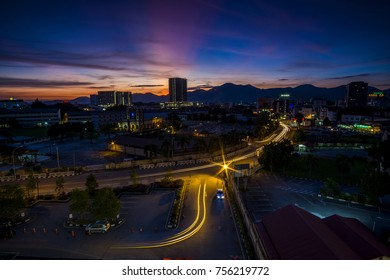 scenery of sunset at Ipoh Malaysia. Soft focus,motion blur due to long exposure