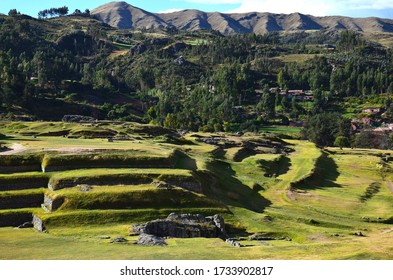 Scenery from the the top of the walls of the old citadel Sacsayhuaman in Cuzco, Peru