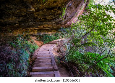 The scenery trail throw rock formation in the Blue Mountains National Park close to Sydney, Australia