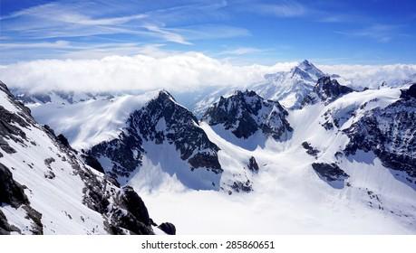 scenery of Valley Titlis snow mountains, Engelberg, Switzerland