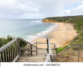Scenery view of Bells Beach. Bells Beach is a coastal locality of Victoria, Australia in Surf Coast Shire and a renowned surf beach, located 100 km south-west of Melbourne