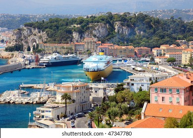 Scenery view of big cruise ships at the Mediterranean sea harbor of the Nice city, France, Europe also known as french riviera.