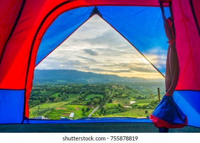 Scenery view from fabric tent at Khao Ta-Khian Ngo Viewpoint. Location in Khao Kho District, Phetchabun, Thailand, Southeast Asia.