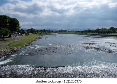 Scenery view of Katsura River and bridge near Arashiyama