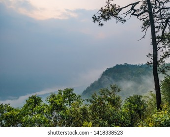 Scenery view in the morning on Phu Kradueng mountain national park in Loei City Thailand.Phu Kradueng mountain national park the famous Travel destination