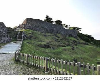 Scenery view of Nakijin-jo Site in Okinawa, Japan.
