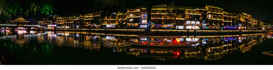 Scenery view in the night of fenghuang old town .phoenix ancient town or Fenghuang County is a county of Hunan Province, China