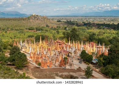 The scenery view of Shwe Indein pagoda (or Shwe Inn Thein pagoda), Indein is a small village West of Inle Lake of Myanmar.