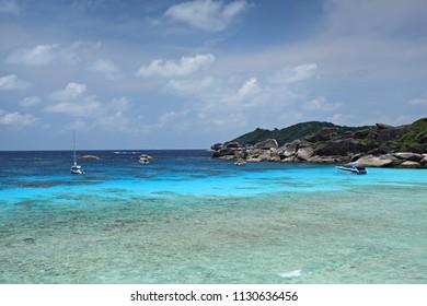 Scenery views Andaman Sea from Similan Islands #8 (sailing rocks) in Similan Islands Marine National Park Phang Nga Province, Southern Thailand