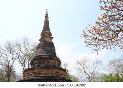 Scenery of vitage buddhist pagoda with natural background. Thailand. The religious statue of peaceful.