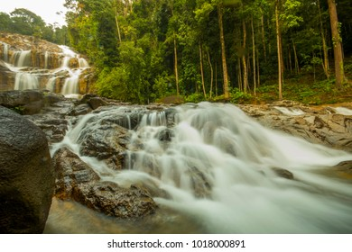 scenery waterfall in tropical rain forest