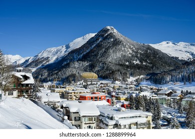 Scenery of winter and resort Davos, Switzerland -  the home of annualy World Economic Forum.
