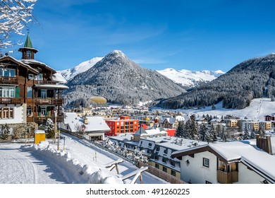 Scenery  of winter  resort Davos, Switzerland.