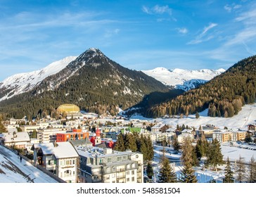 Scenery of winter  resort Davos, Switzerland. The World  Economic  Forum is best known for its annual meeting at the end of January in Davos