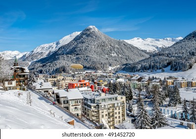 Scenery of winter and summer  resort Davos, Switzerland.