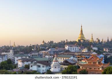 Scenery of yangon in the morning, myanmar