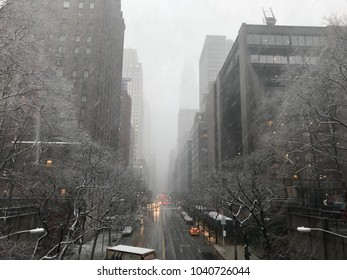 Scenes of snow storm on March 7, 2018 in New York City