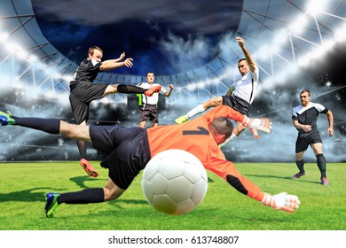 scenes from a soccer or football game with male player