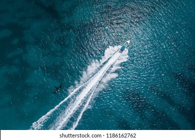 Scenic above bird's eye view of speedboat's wake  in Caribbean sea, Dominican Republic