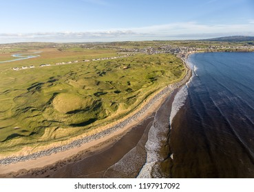 scenic aerial birds eye irish landscape view of lahinch in county clare. 2019 Dubai Duty Free Irish Open championship golf will be held at lahinch. great european championship golf course.