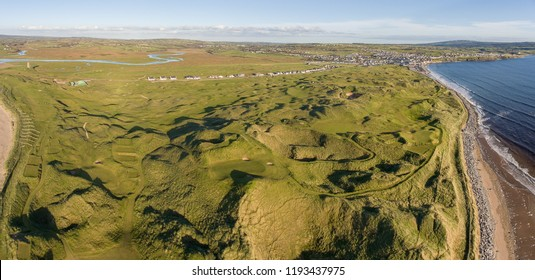 scenic aerial birds eye panoramic irish landscape from lahinch in county clare, ireland. beautiful lahinch beach and golf course that will host the 2019 Dubai Duty Free Irish Open