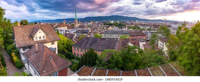 Scenic aerial panoramic view of the city at sunset. Zurich. Switzerland.
