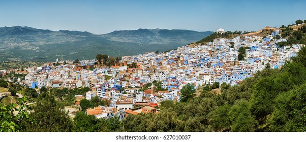 Scenic aerial view of the blue city Chefchaouen in Morocco, panoramic image.