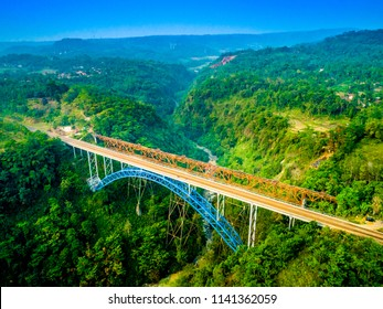 Scenic Aerial View of Cisomang Railway Bridge at Sunset, the Highest Active Train Bridge in Indonesia, Bandung Purwakarta, West Java Indonesia, Asia