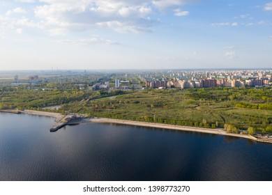 Scenic aerial view of city Togliatty from the river Volga