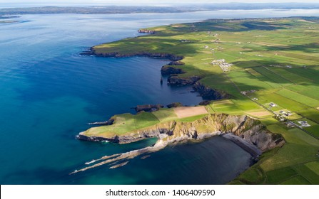 Scenic aerial view of coastal cliffs on the west coast of North Kerry in the republic of Ireland