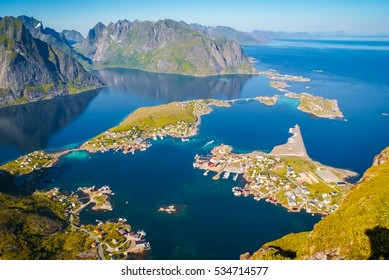 Scenic aerial view of countryside and sea from Mount Reinebringen on Lofoten islands in Norway.