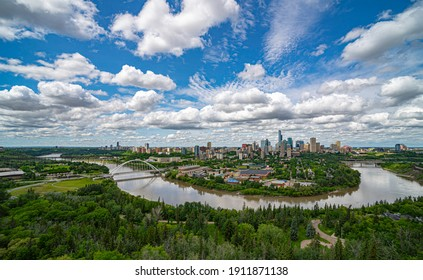 Scenic aerial view of downtown Edmonton, Alberta, Canada.