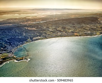 Scenic aerial view of Half moon bay beach at San Francisco city area in California United States of America scenery with pacific ocean shore cabrillo highway satellite landmark